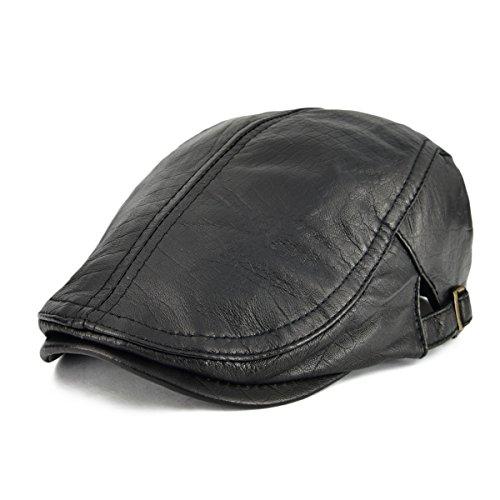 a1e6d9262c0 The Hat Depot Cotton Twill 5 Panel Flat Brim Genuine Leather Brass ...
