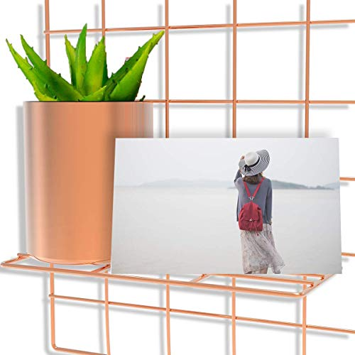 Pulatree Grid Photo Wall(Ultra Large), Wire Wall Grid Panel for Photo Hanging Display Metal Grid Wall Decor Organizer Mesh Panels Display Wall Storage 37.4 x 17.7 inch - Rose Gold