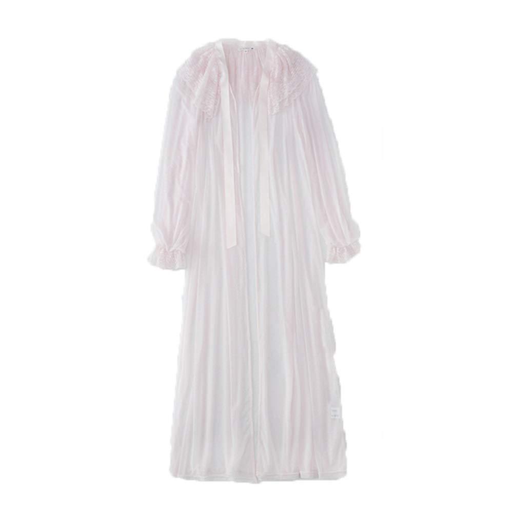 Pink Bathrobes Pajamas Women's Spring, Summer and Autumn Long Bathrobe Long Sleeve Thin Bathrobe Long Sleeve (color   White, Size   XS)