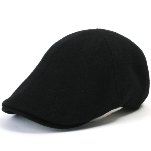 - ililily Soft cotton Newsboy Flat Cap Pre-curved ivy stretch-fit Driver Hunting Hat (flatcap-506-1), Black