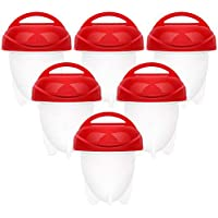 Egg Cooker Hard & Soft Boiled Maker Set 6 Packs Nonstick Silicone Eggs Boiler Cookers Egg Poacher Steamer Without Egg Shell