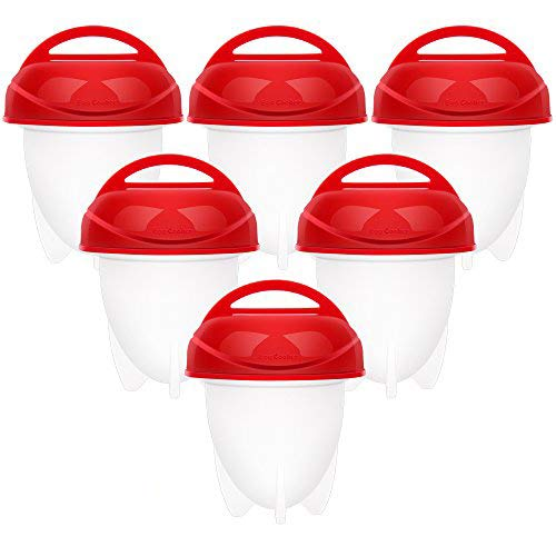 Egg Cooker Hard & Soft Boiled Maker Set 6 Packs Nonstick Silicone Eggs Boiler Cookers Egg Poacher Steamer Without Egg ()