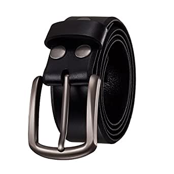 "KEEPBLANCE Men's Classic Casual Jean Style Strong Built Genuine Leather Belt (1.5"" Width) (30-32, Black)"