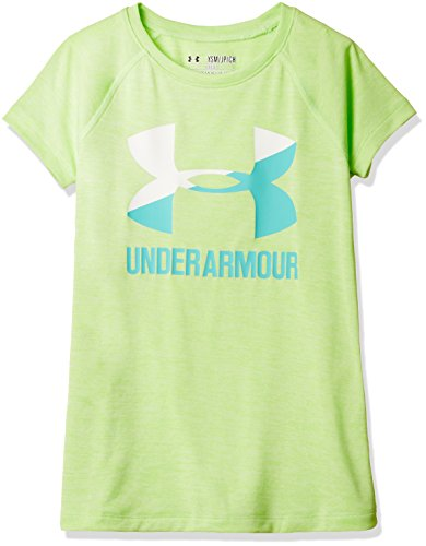 Youth Lime Green T-shirts (Under Armour Girls' Novelty Big Logo Short Sleeve T-Shirt,Summer Lime/Absinthe Green, Youth Large)