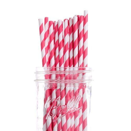 Pack Vintage Paper Straws, Coral Striped ()