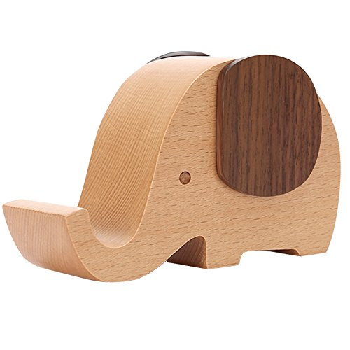 Apor Cell Phone Stand, Wood Made Elephant Phone Stand for Smartphone with Pen Holder Desk Organizer (Pen Desk Stand Wood)