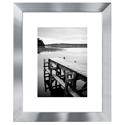 Americanflat 8x10 Silver Picture Frame - Display Pictures 5x7 with Mat - Display Pictures 8x10 Without Mat - Glass Front - Standing Hardware Included