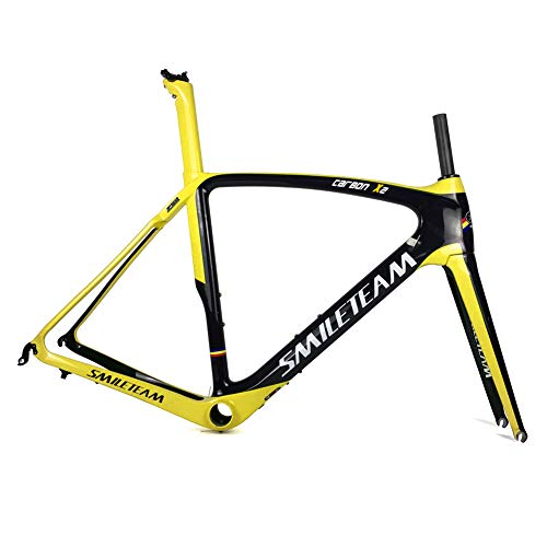 Fasteam FT-004 Full Carbon UD Clear Coating Road Bike Frame with a Full Carbon Fork Yellow Red (Yellow, - Road Frame Full Carbon