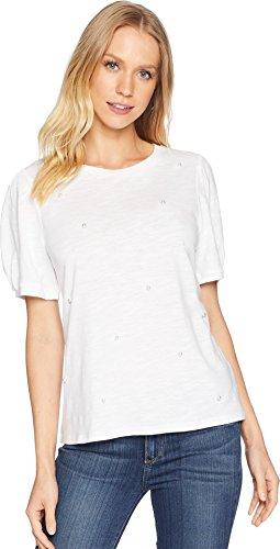 kensie Women's Cotton Beaded Slub Top, White, XL -