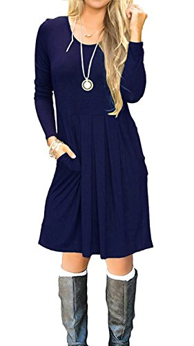I2CRAZY Women's Casual Pleated Loose Swing T-Shirt Dress with Pockets Knee Length(03-Long...
