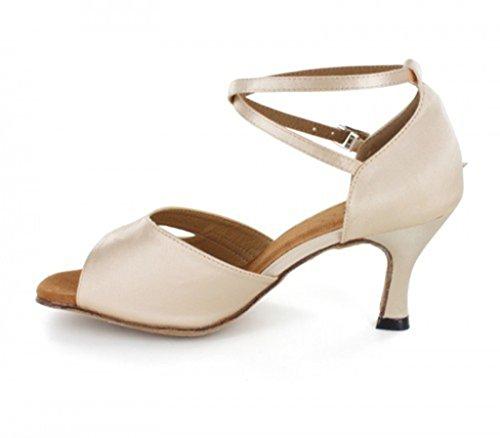 Tda Donna Cinturino Alla Caviglia Tacco Svasato Raso Tango Sala Da Ballo Salsa Latino Ballo Scarpe Da Sposa Beige-7,5 Centimetri Tacco