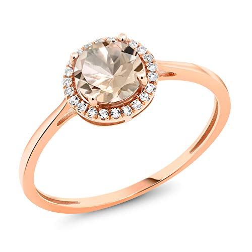 Gem Stone King 10K Rose Gold Diamond Engagement Ring Round Peach Morganite 0.82 cttw (Size 6)