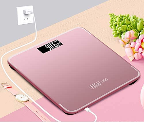 UYTE High Precision Charging Style Square Electronic Bathroom Scales - Toughened Glass,Easy To Read Digital Display, Instant Precise Reading with Step-On Feature,pink