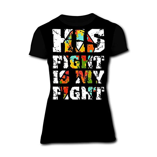 KANGQIAN-47 Women's His Fight is My Fight Autism 3D Print Classic Short Sleeve T-Shirt Black -