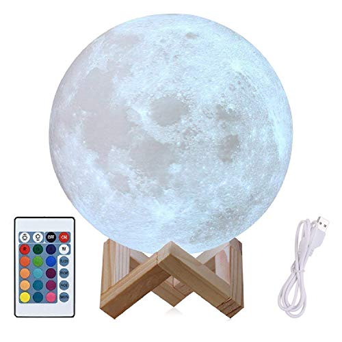 8″ Moon Lamp Large, Genuine Moon Light Lamps (6″- 11″)3D Printed Moon Light with Stand, The 3D Moon Lamp with LED 16 Colors, Touch Control and Remote Control(20.3CM) Review
