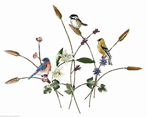 - WALL ART - SONGBIRD TRIO WITH WILDFLOWERS METAL WALL SCULPTURE - BIRD WALL DECOR