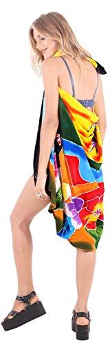 ropa de playa envoltura de baño del juego de falda pareo encubrir las mujeres del traje de baño complejo desgaste desgaste del traje de baño de la piscina pareo amarillo-naranja negro