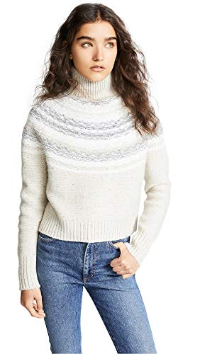 Vince Women's Fair Isle Wool Turtleneck Sweater, Oatmeal, X-Small (Fair Turtleneck Sweater Isle)