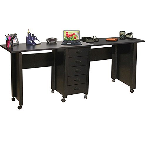Double Folding Mobile Desk black