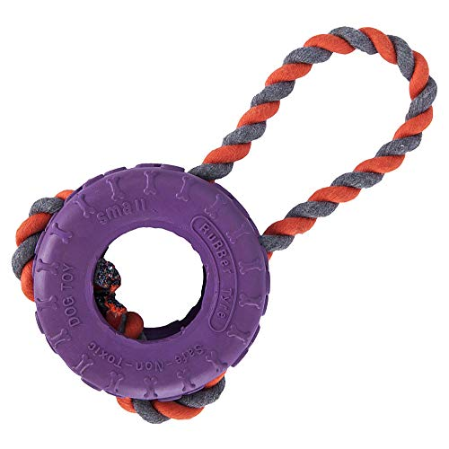 (DS Toy Tires with Rope for Dogs Nontoxic Rubber Durable Chew Toys Intelligence Training Sports Training and Perfect Dog Interaction Violet)