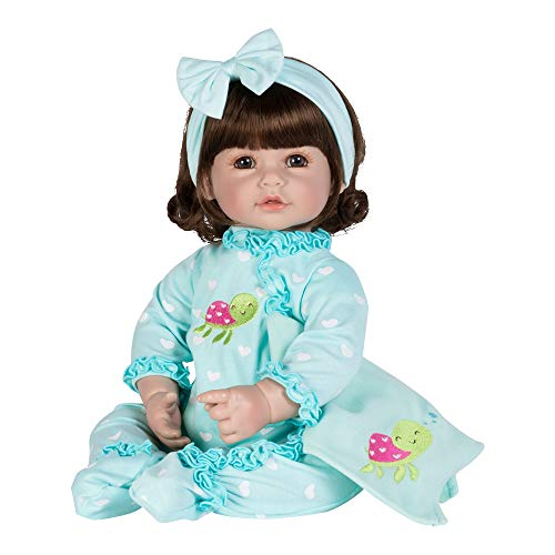 Adora ToddlerTime Doll Sleepy Turtle 20 inch Toddler Baby Doll in CuddleMe Vinyl, Realistic Lifelike Weighted Body, Brown Hair & Blue Eyes
