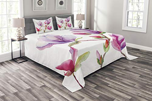 Lunarable Flower Bedspread, Pink and Purple Fresh Magnolia Buds in Watercolors Drawing Bouquet Bridal Design, Decorative Quilted 3 Piece Coverlet Set with 2 Pillow Shams, King Size, Purple Pink
