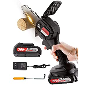 BIERDORF Mini Chainsaw Cordless, 4-Inch Portable Mini Electric Chainsaw, Small Handheld Battery Operated Chainsaw Hand…