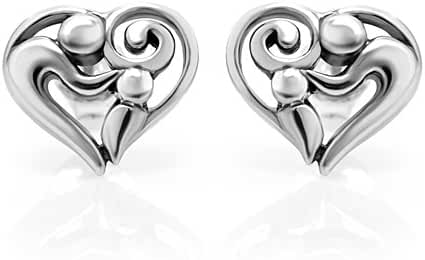 925 Sterling Silver Heart Shaped Mom and Child 11 mm Post Stud Earrings