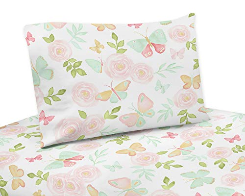 (Sweet Jojo Designs Blush Pink, Mint and White Watercolor Rose Queen Sheet Butterfly Floral Collection-4 Piece Set, Green, Gold)