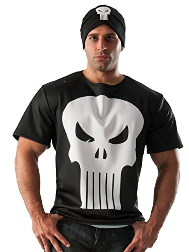 Punisher Costume (Rubie's Costume Co Men's Marvel Universe Punisher T-Shirt, Multi, Large)