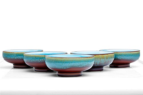 Tea Bowl Set of 5 Cups Summer Chawan Rainbow Porcelain Teacups Chinese Teaware (fisherman)