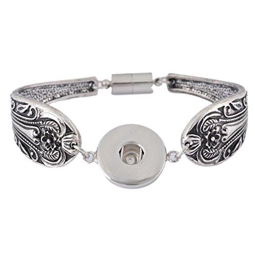 Soleebee Alloy Flower Carving Snap Button Cuff Bracelet Women's Fashion Bracelet (Silver) jwZ5VRnom