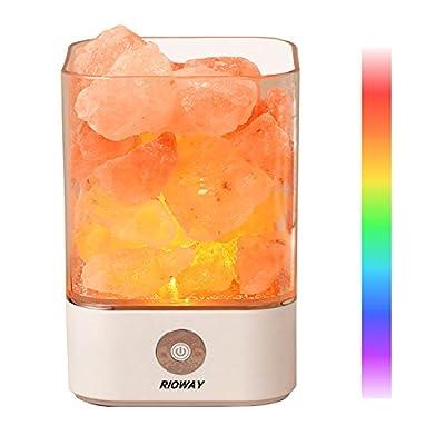 Himalayan Salt Lamp, Rioway Himalayan Pink Salt Rock Lamp with 7 Colorful Night Light, Dimmer Control, Air Purifying Ionic Natural Salt Crystal Lamp, Best Gift Idea
