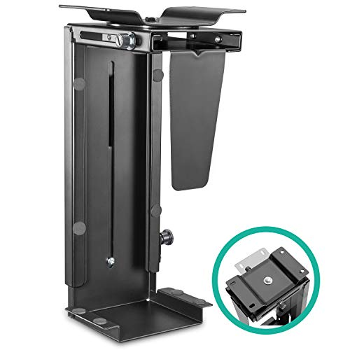 (EleTab Adjustable Under Desk Computer Mount Wall PC Mount Computer Case Holder with 360-degree Swivel)