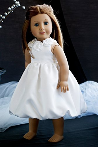 Custom Made 18 Doll Clothes Girl American Satin Dress for Flower Girl or Wedding with Bubble Skirt and Pearl Rosette Top (Rosette Bubble Dress)