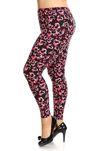 Womens Plus Hearts (Leggings Mania Women's Plus Size Hearts Print High Waist Leggings Pink)