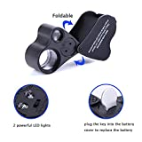 Dreame 30X 60X LED Lighted Illuminated Jewelers Eye Loupe Jewelry Magnifier for Gems Jewelry Rocks Stamps Coins Watches Hobbies Antiques Models