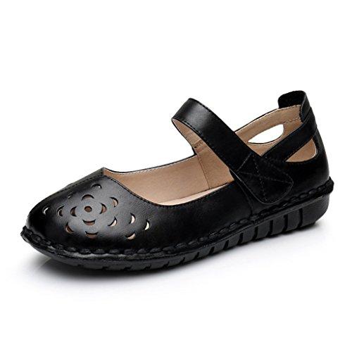 HWF Zapatos para mujer Summer Mother Flat Abuela de mediana edad Flat Flat Bottom Old People Sandalias Mujeres Cool Shoes Female ( Color : Blanco , Tamaño : 38 ) Negro