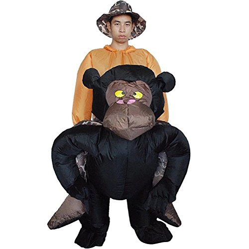 Inflatable Rider Costume Gorilla Monkey Orangutan Gibbon Chimp Fancy Dress Funny Suit Mount For Adult - Ups Man Costume