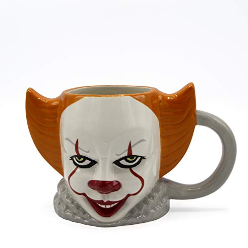 Silver Buffalo WBH2193D IT IT Pennywise Ceramic 3D Sculpted Mug, 21-ounces, White/Orange]()