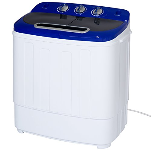 Best Choice Products Portable Compact Mini Twin Tub Laundry Washing Machine and Spin Cycle w/Hose, 13lbs Load Capacity - White/Blue