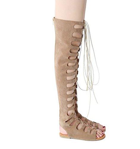 YOUJIA Mujeres Elegante Gladiator Sandalias Plano Botas de Rodilla Sandalia del Verano #3 Beige