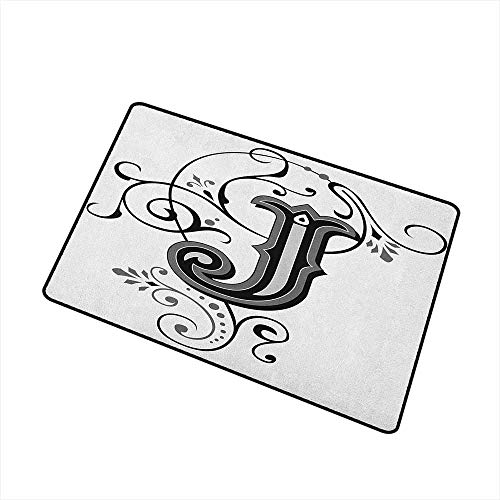 (Wang Hai Chuan Letter J Commercial Grade Entrance mat Shabby Chic Classic Written Medieval Initials J Royal Noble Family Character for entrances garages patios W23.6 x L35.4 Inch Black Grey White )