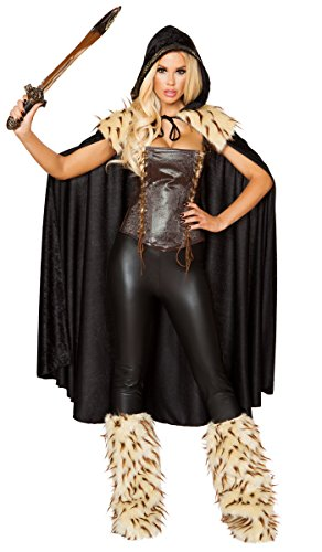 Musotica Sexy Xena Warrior Princess Lace-up Corset with Faux Fur Detail Hooded Cape and Leggings - Black/Brown - (Fur Corset)