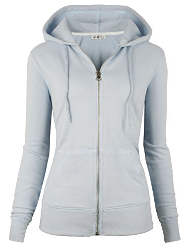 (DELight Women's French Terry Regular Fit Zip up Hoodie (Medium, Sky Blue))