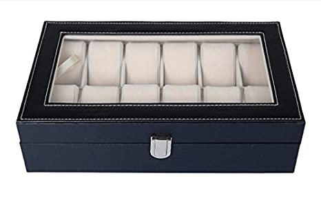 amzdeal® Caja Expositor para relojes reloj negro piel sintética cubierta 12 relojes)
