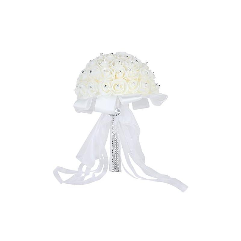 silk flower arrangements wedding bridal bouquet, febou handmade crystal ribbon rhinestone wedding bridesmaid bouquet, bridal artificial flowers for wedding (white-crystal small size)