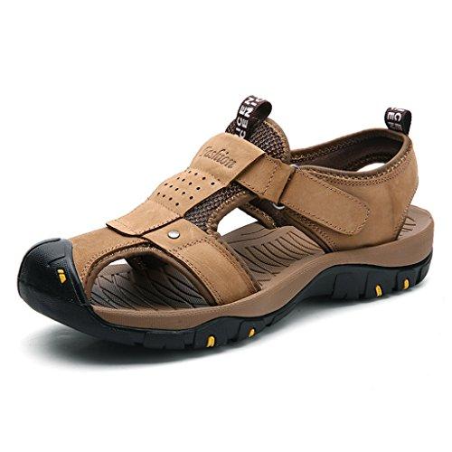 Zanyeing Mens Cuir Sandales De Plage Wandersandale Trekking Wanderschuhe Estivale Velcro Sport En Plein Air Latschen Khaki1 Ferm