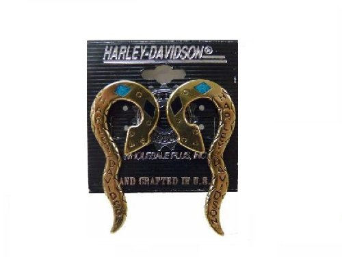 Snake Onyx (Vintage Harley Davidson Zuni Turquoise and Black Onyx Snake Earrings ~ Made in the USA!)