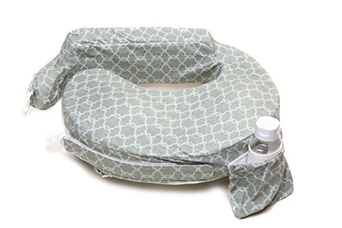 My Brest Friend Deluxe Nursing Pillow for Comfortable Posture, Grey Flower Key